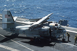 Grumman C-1 wings folded aboard USS Lexington.jpg
