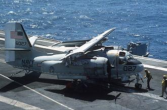 Carrier onboard delivery - Image: Grumman C 1 wings folded aboard USS Lexington