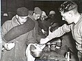 HAIFA, PALESTINE. 1940-12-20. AUSTRALIAN TROOPS DISHING OUT ITALIAN PRISONERS' FIRST MEAL IN PALESTINE. (NEGATIVE BY DAMIEN PARER).JPG