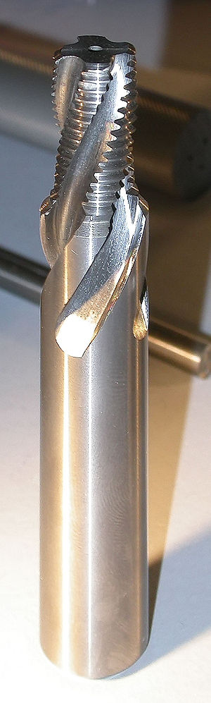 Threading (manufacturing) - A solid multiple-form thread milling cutter.