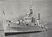 HMNZS Royalist in Waitemata Harbour, 1956
