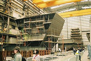 BAE Systems Maritime – Naval Ships - Construction of prefabricated module blocks of Type 45 destroyer, HMS Dauntless, at BAE's Portsmouth Shipbuilding hall.