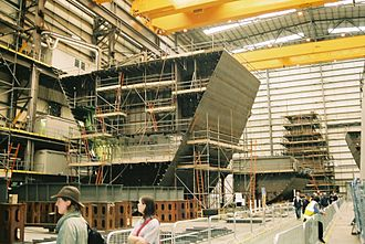 Type 45 destroyer - Construction of blocks of Dauntless at Portsmouth.