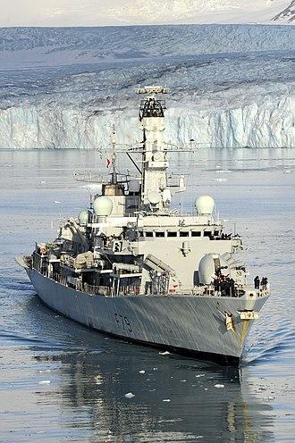 HMS Portland (F79) - Image: HMS Portland Sails Near Huge Glacier in South Georgia MOD 45151714