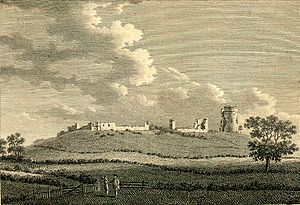 Hadleigh Castle - The towers, royal lodgings and remaining walls as seen from the south in an engraving of 1783, after Francis Grose