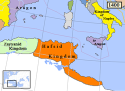 Realm of the Hafsid dynasty in 1400 (orange)