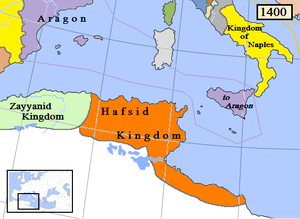 Hafsid dynasty - Realm of the Hafsid dynasty in 1400 (orange)