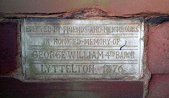 George Lyttelton, 4th Baron Lyttelton - St John the Baptist Church, Hagley, inscription inside the lychgate