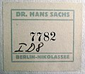 Hans Sachs label -7782, affixed to the Karen Zabel poster verso.jpg