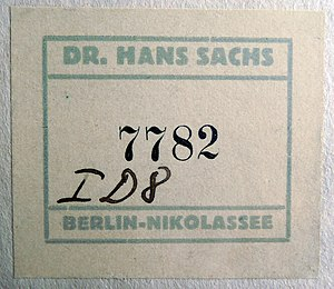 Hans Sachs (poster collector) - Label affixed to the Karen Zabel poster (see poster image in Commons)