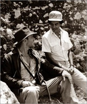 Harrison Ford - Ford with Chandran Rutnam on the set of Indiana Jones and the Temple of Doom which was shot in Kandy, Sri Lanka in 1983