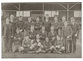 Hartlepool XV versus Military XV. Friarage Field, Hartlepool, Saturday March 2nd 1918. Mr J. Snowden is on the extreme right of the photograph. (5754841246).jpg