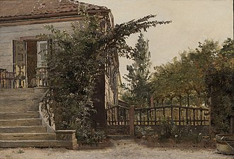 Blegdamsvej - Christen Købke's painting of the garden stairs of the house at Blegedammen )