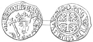 "History of the English penny (1154–1485) - Penny of Henry II with ""cross-and-crosslets"" design on the obverse."