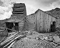 Headframe and blacksmith shop, Montana mine (15047118396).jpg
