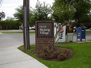 Hedwig Village, Texas - Sign indicating Hedwig Village