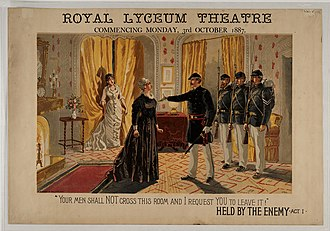 William Gillette - Theatre poster for Held by the enemy at the Royal Lyceum Theatre, Edinburgh in 1887