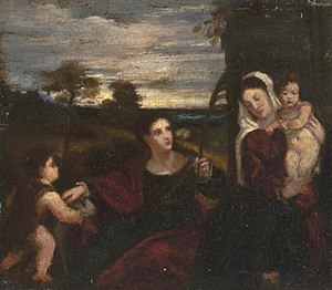 Helen M. Knowlton - Helen Mary Knowlton, The Virgin, Jesus, Saint Agnes and St. John,  after Titian (1477–1576). Date unknown (1848-1918). Worcester Art Museum