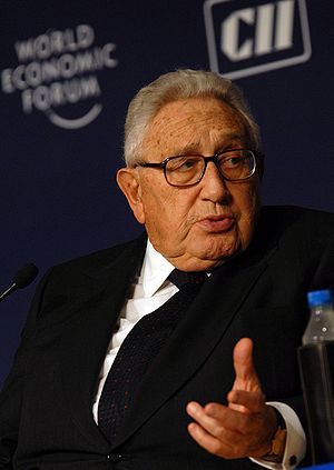 Henry Kissinger, at the World Economic Forum's...