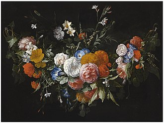 Hieronymus Galle - A swag of flowers