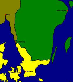 Gothenburg's location around 1600. (Sweden green, Denmark yellow, Norway brown)