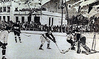 Ice hockey at the 1924 Winter Olympics - Canada and Great Britain in the final round.