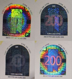200 euro note - Holograms of the 200 euro note, but each under different positions.