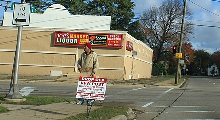 Homeless soliciting employment, Ypsilanti, Michigan Homeless man soliciting employment Ypsilanti Michigan.JPG