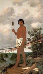 Portrait of a black man from the Tupi tribe with his bow and arrows