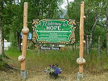 Welcome sign for Hope, Alaska