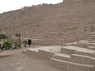 Lima culture - Wak'a Pukllana and characteristic adobitos. Miraflores District, Lima