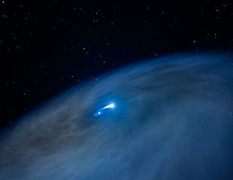Wolf–Rayet star - Artist's illustration of gas disk around massive hydrogen-rich WR 122