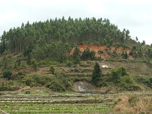 Hakka people - Typical traditional hillside tombs. Hukeng Town, Yongding County, Fujian.