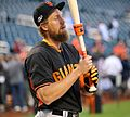 Hunter Pence works before the 2016 NL Wild Card Game.jpg