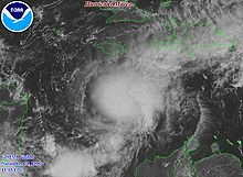 Satellite image of hurricane in the Caribbean Sea.