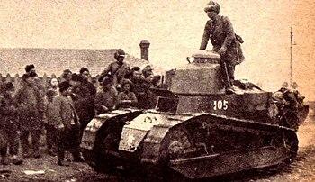 Japanese Renault tank in Manchuria after Mukde...