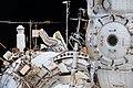 ISS-54 EVA-2 Russian spacewalker outside the Zvezda service module.jpg