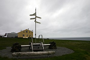 Grímsey - Older Monument to Arctic Circle on Grímsey.