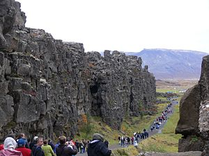 Rock outcrop in Iceland, a visible surface fea...
