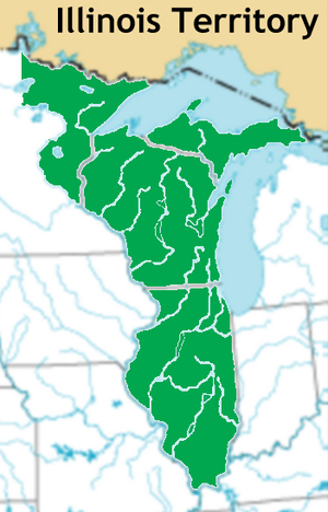 Ninian Edwards - Map of the Illinois Territory. Modern state borders are shown.