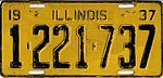 Illinois 1937 license plate - Number 1-221-737.jpg