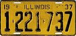 Illinois 1937 license plate - Number 1-221-737.jpg
