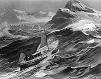 le James Caird près de la Géorgie du sud