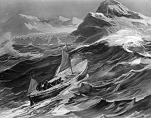 Cave Cove - Rendition of the James Caird nearing South Georgia
