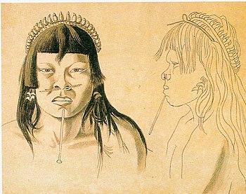 Portrait d'un amérindien Bororo, par Hercules Florence, lors de l'expédition conduite en Amazonie brésilienne par le Baron von Langsdorf en Amazonie de 1825 à 1829
