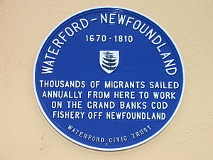 Irish Newfoundlanders - Plaque in Waterford, Ireland