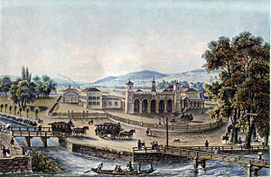 Zürich Hauptbahnhof - View of the first station in 1847.