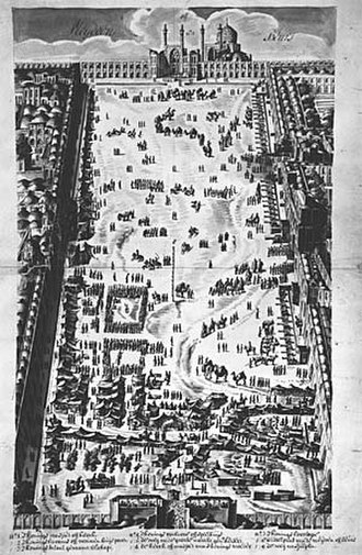 Naqsh-e Jahan Square - Great Bazaar of Isfahan, 1703, drawing by G. Hofsted van Essen, Leiden University Library