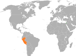 Map indicating locations of Israel and Peru