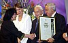 Israel prize award ceremony Moshe Katsav presenting author Yehudith Hendel with the literature Israel prize D810-069.jpg